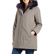 Buy Four Seasons Faux Fur Trimmed Parka Coat, Mole/Navy Online at johnlewis.com