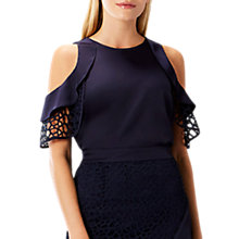 Buy Coast Annaliese Ruffle Top, Navy Online at johnlewis.com
