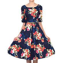 Buy Jolie Moi Printed Half Sleeve Flared Dress, Navy Floral Online at johnlewis.com