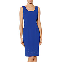 Buy Gina Bacconi Philippa Diamante Hem Crepe Dress, Lapis Blue Online at johnlewis.com