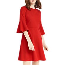 Buy Oasis Flute Sleeve Dress, Rich Red Online at johnlewis.com