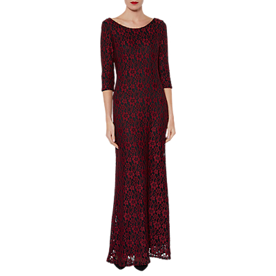 Product photo of Gina bacconi lola floral lace maxi dress wine