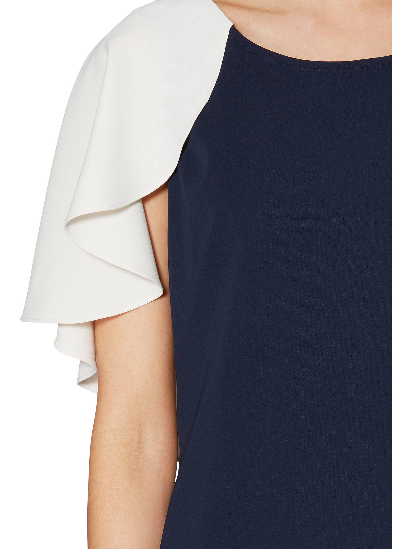 BuyGina Bacconi Chantelle Contrast Cape Crepe Dress, Spring Navy/Chalk, 8 Online at johnlewis.com