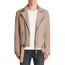 Buy AllSaints Kolton Leather Biker Jacket, Mushroom Online at johnlewis.com