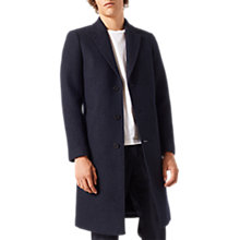 Buy Jigsaw Boiled Wool Longline Overcoat, Navy Online at johnlewis.com