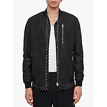 Buy AllSaints Kino Leather Bomber Jacket, Black Online at johnlewis.com