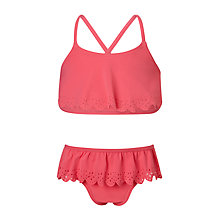 Buy John Lewis Girls' Flower Cut Out Tankini, Red Online at johnlewis.com