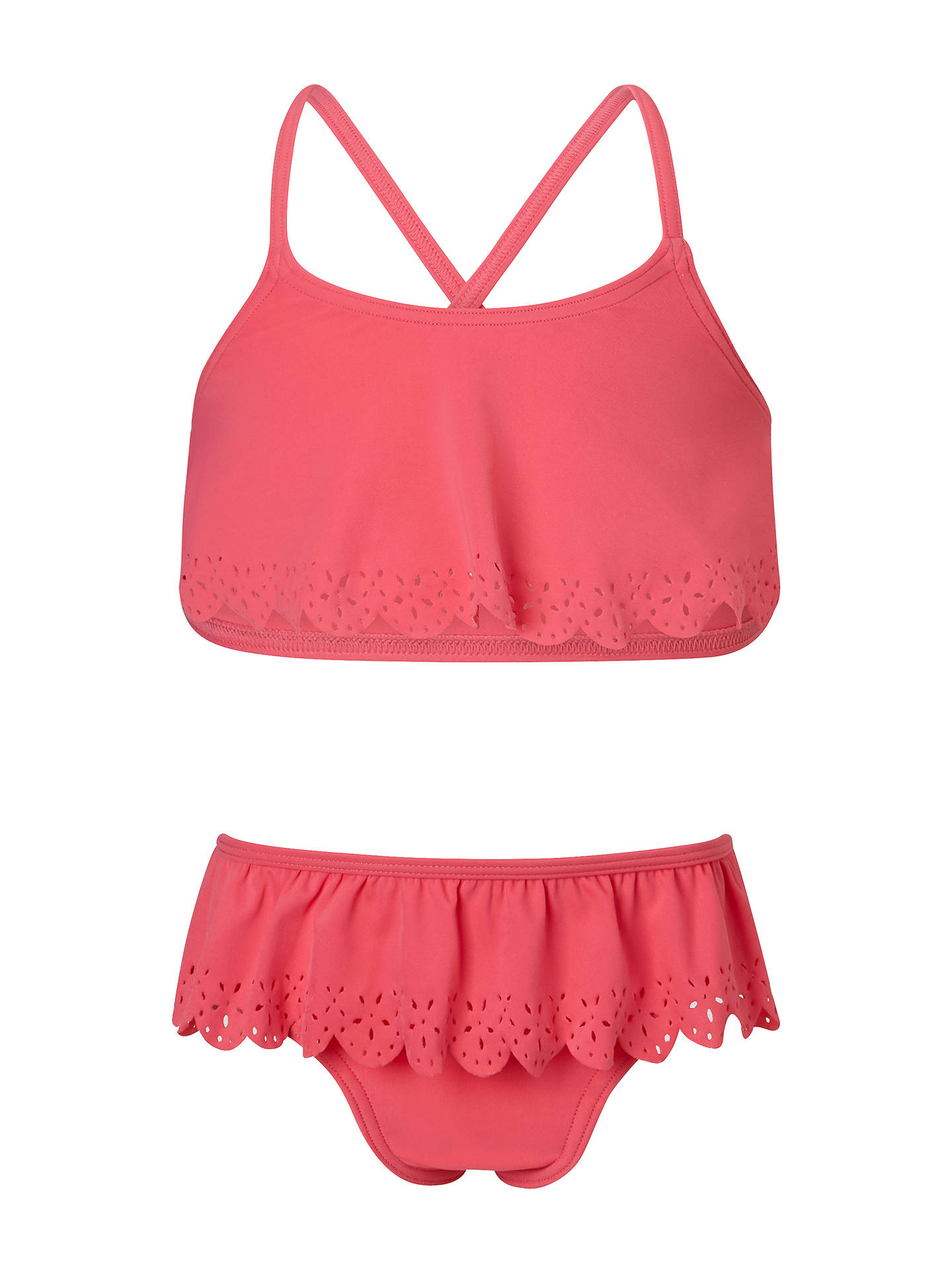 Buy John Lewis & Partners Girls' Flower Cut Out Tankini, Red, 6 years Online at johnlewis.com