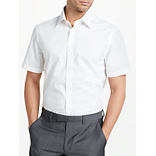Buy John Lewis Easy Care Cotton Poplin Short Sleeve Tailored Shirt, White Online at johnlewis.com