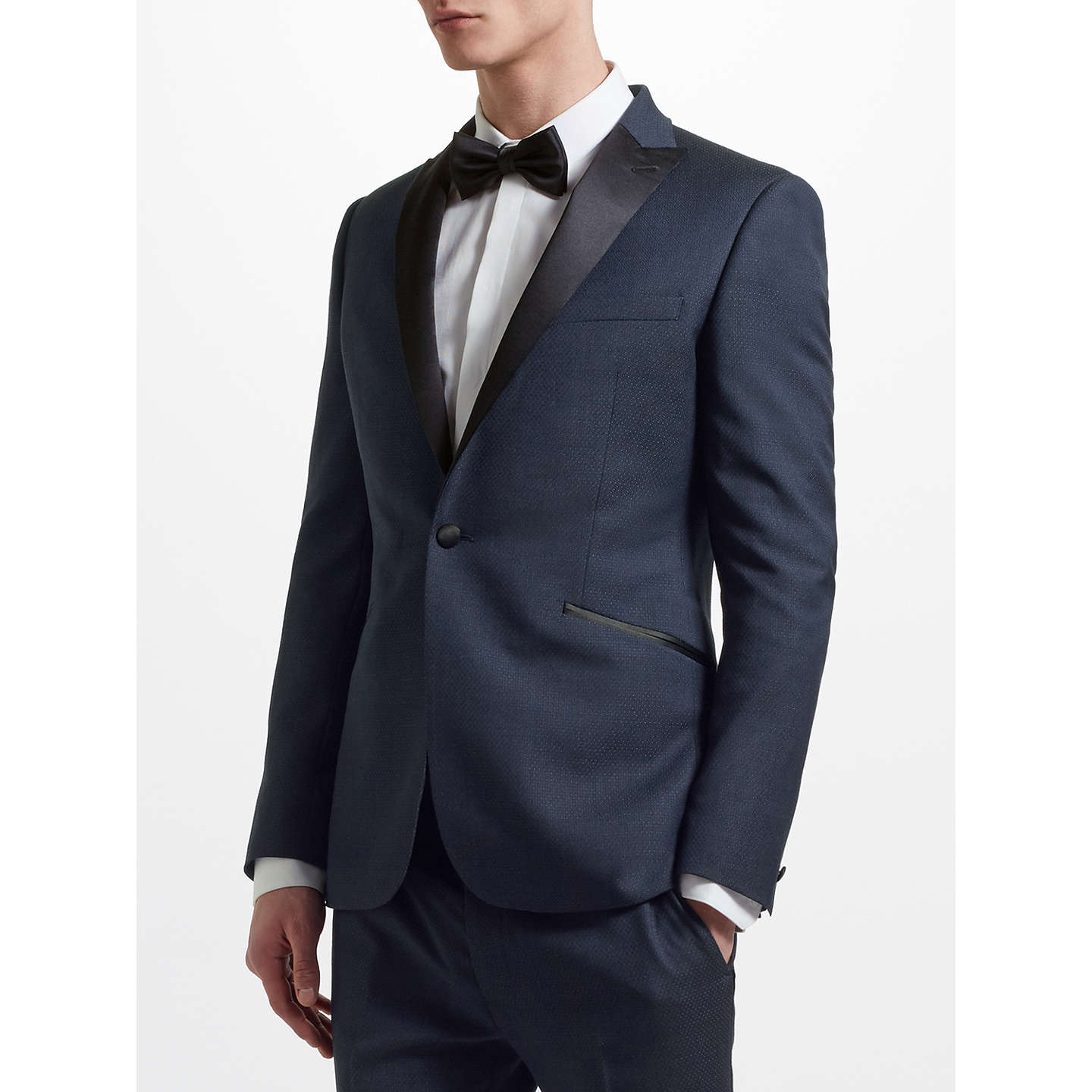BuyKin by John Lewis Jacquard Pindot Slim Fit Dress Jacket, Navy, 36S Online at johnlewis.com