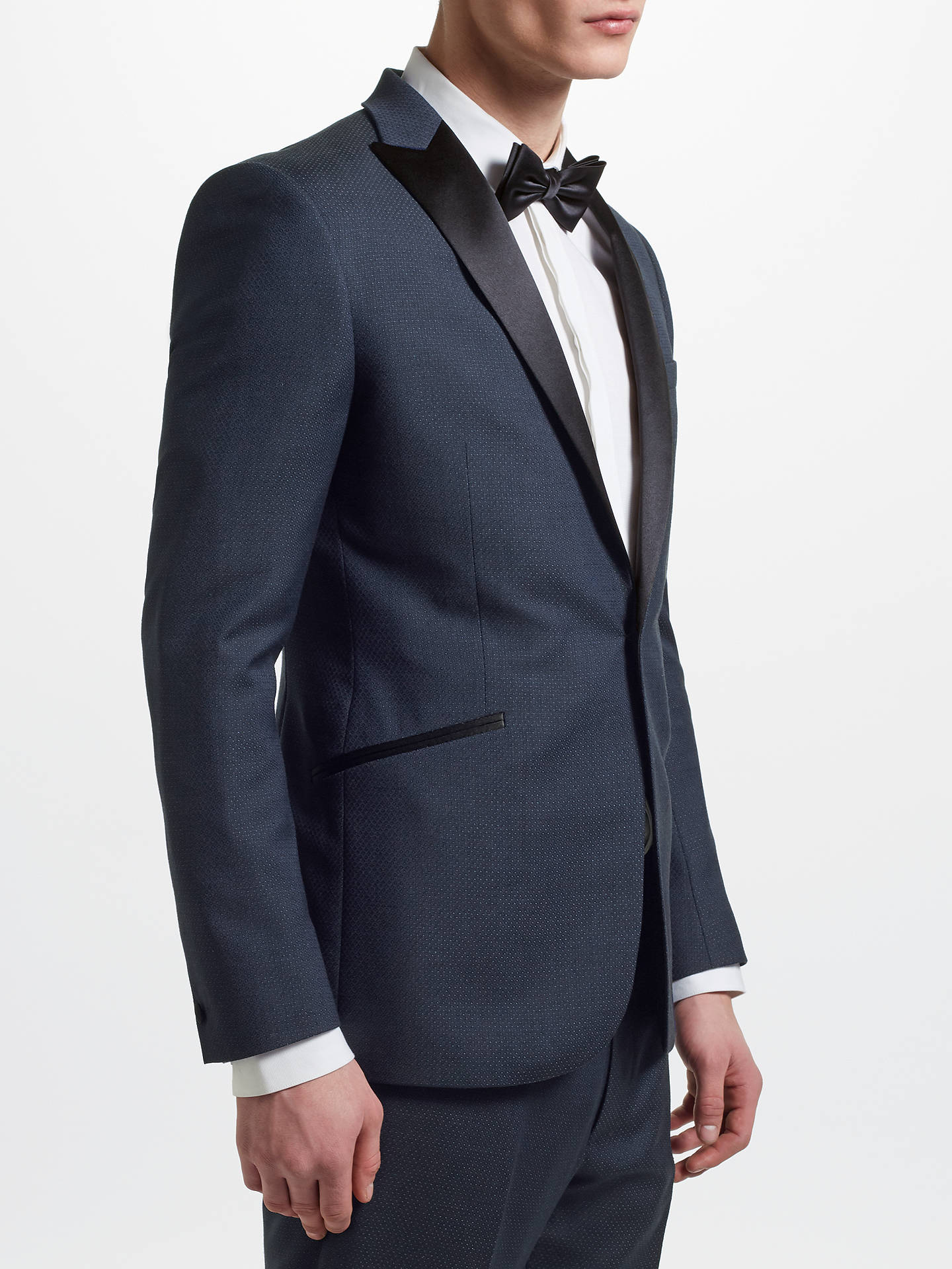 BuyKin Jacquard Pindot Slim Fit Dress Jacket, Navy, 36S Online at johnlewis.com