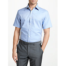 Buy John Lewis Dobby Cotton Tailored Fit Short Sleeve Shirt, Blue Online at johnlewis.com