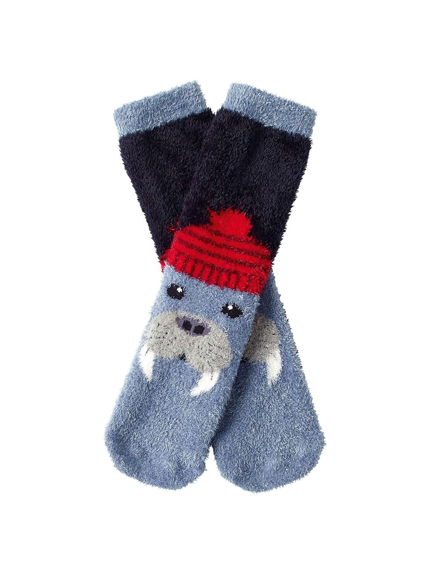 Fat Face Childrens Fluffy Walrus Socks Blue At John Lewis Partners