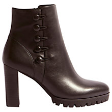 Buy Karen Millen Button Cleated Block Heeled Ankle Boots, Black Leather Online at johnlewis.com