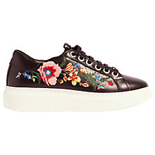 Buy Karen Millen Embroidered Flatform Trainers, Black Online at johnlewis.com