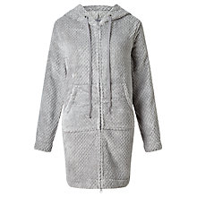 Buy John Lewis Zip Waffle Hooded Dressing Gown, Grey Online at johnlewis.com