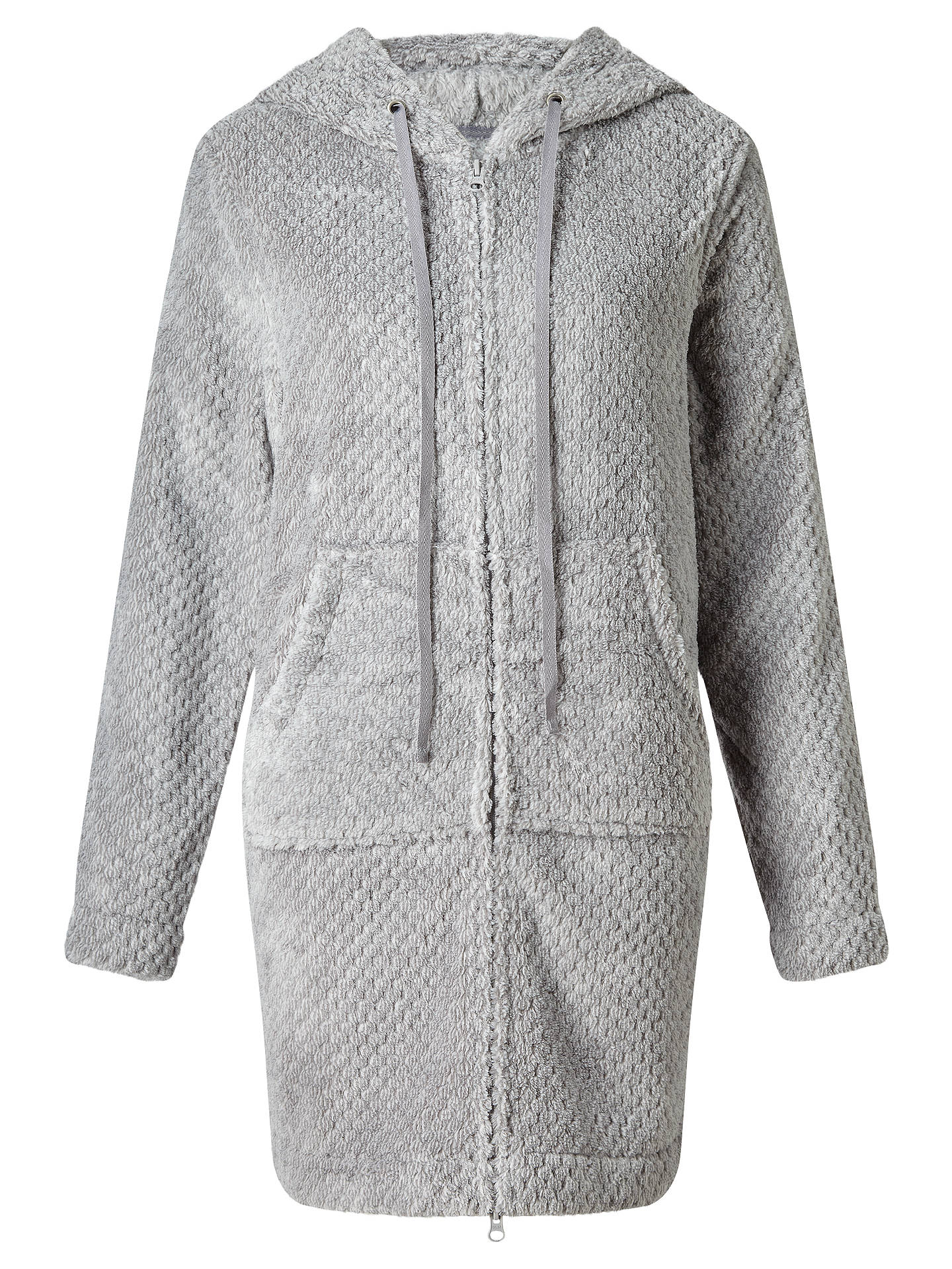 John Lewis Zip Waffle Hooded Dressing Gown, Grey at John Lewis ...