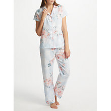 Buy John Lewis Cassie Floral Print Short Sleeve Pyjama Set, Blue/Pink Online at johnlewis.com