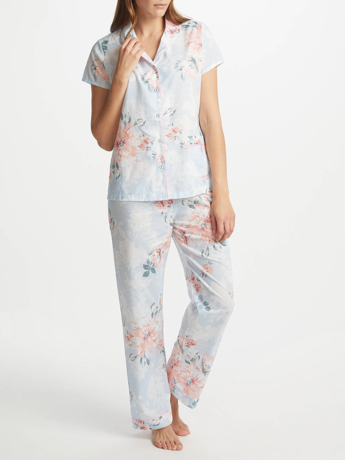 fdc5f891 Buy John Lewis Cassie Floral Print Short Sleeve Pyjama Set, Blue/Pink, 8 ...