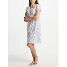 Buy John Lewis Angela Floral Print Short Sleeve Nightdress, Blue/Pink Online at johnlewis.com