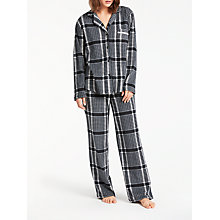 Buy DKNY Checked Fleece Pyjama Set, Black/White Online at johnlewis.com