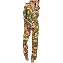 Buy Chelsea Peers Palm Print Revere Collar Pyjama Set, Pink/Green Online at johnlewis.com