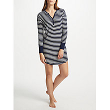 Buy John Lewis Edie Striped Long Sleeve Nightdress, Navy/White Online at johnlewis.com