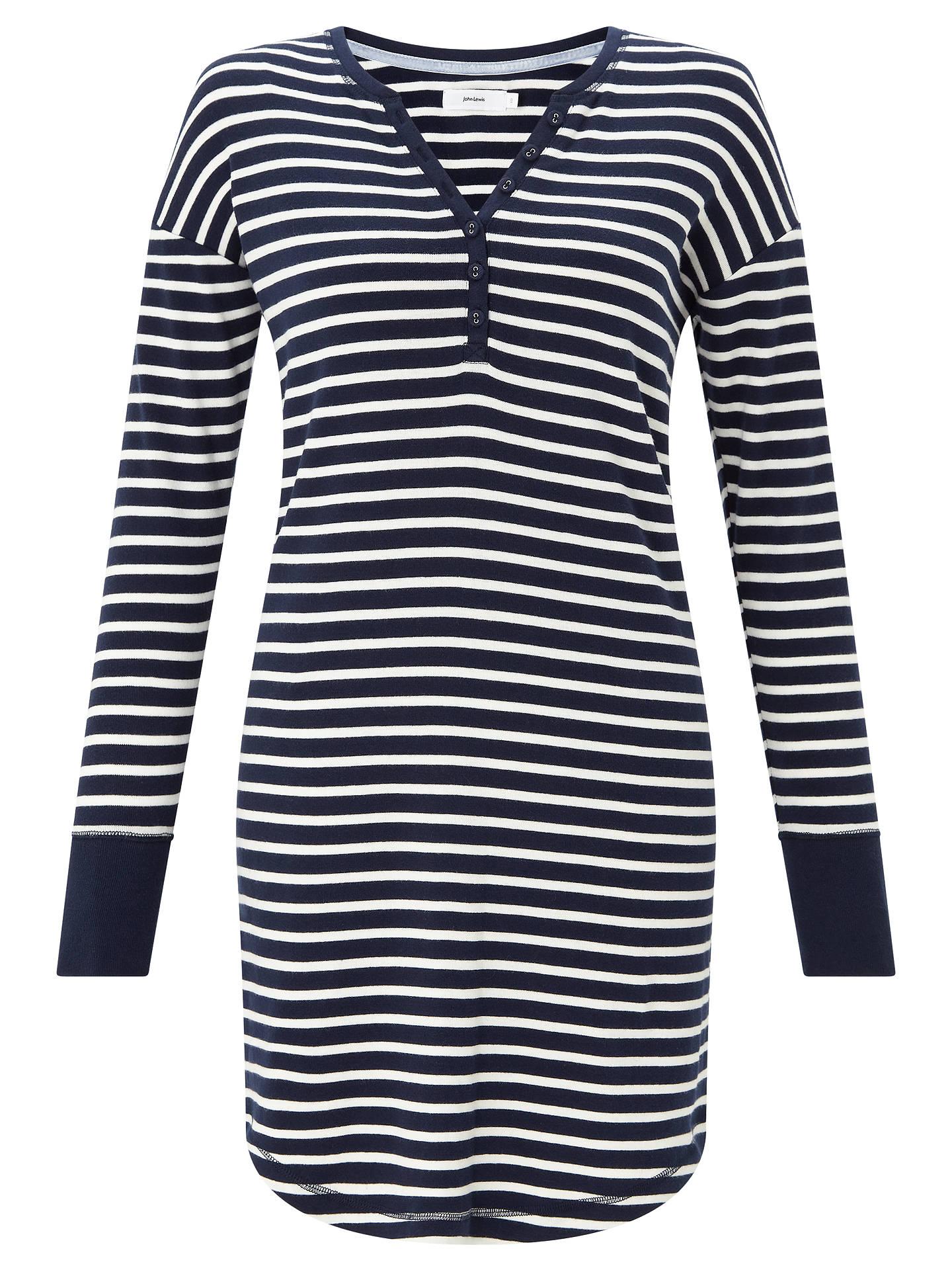 ... BuyJohn Lewis   Partners Edie Striped Long Sleeve Nightdress c20aa5ad9
