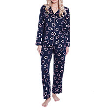 Buy Chelsea Peers Cookie Cutter Print Pyjama Set, Navy/Gold Online at johnlewis.com