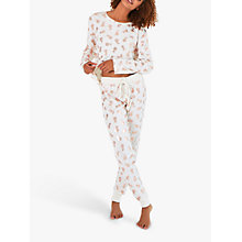 Buy Chelsea Peers Pineapple Print Pyjama Set, Ivory/Rose Gold Online at johnlewis.com