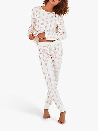 Chelsea Peers Pineapple Print Pyjama Set, Ivory/Rose Gold