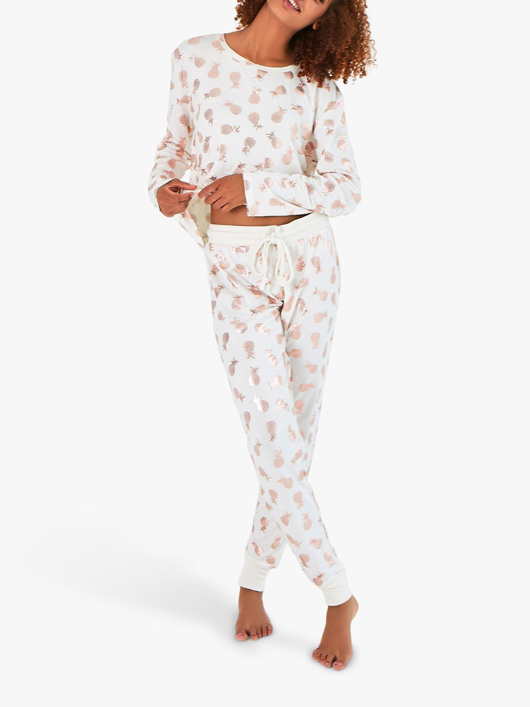 Chelsea Peers Chelsea Peers Pineapple Print Pyjama Set, Ivory/Rose Gold