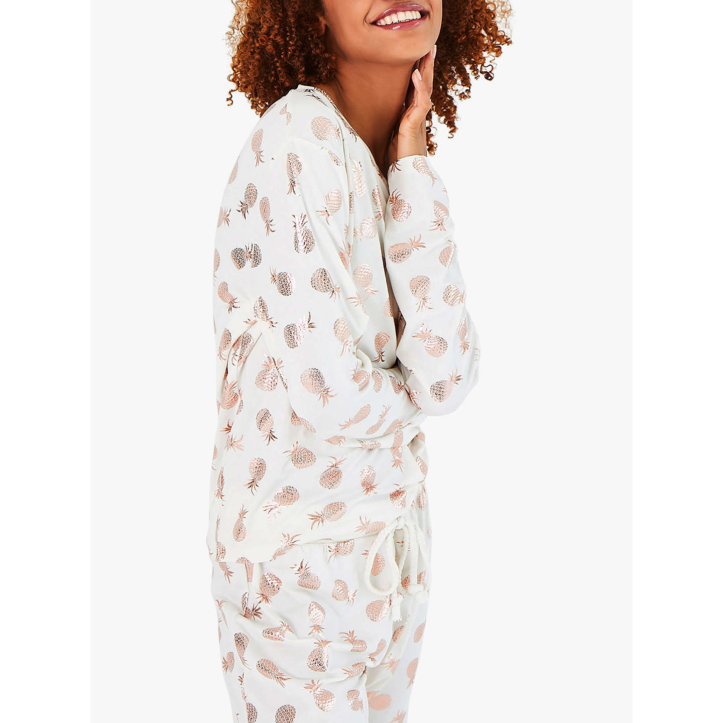 BuyChelsea Peers Pineapple Print Pyjama Set, Ivory/Rose Gold, S Online at johnlewis.com