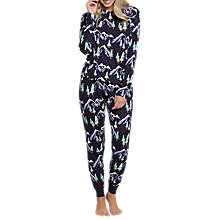Buy Chelsea Peers Snowy Mountain Print Pyjama Set, Navy Online at johnlewis.com