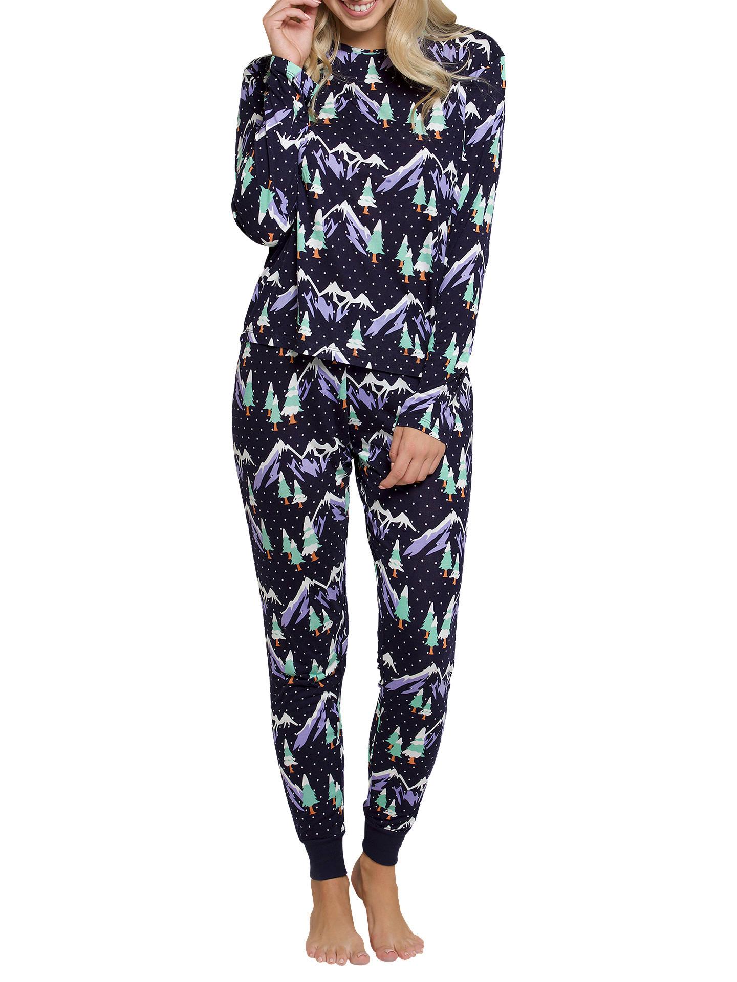 cheapest sale comfortable feel hot-selling fashion Chelsea Peers Snowy Mountain Print Pyjama Set, Navy at John ...