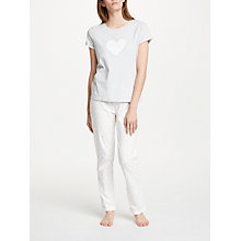 Buy John Lewis Skye Heart Print Pyjama Set, Grey/Ivory Online at johnlewis.com