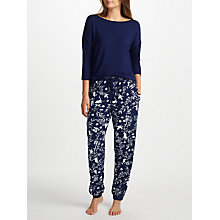 Buy John Lewis Heron Print Jersey Pyjama Set, Blue Online at johnlewis.com