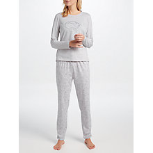 Buy John Lewis Pixie Cat Print Long Sleeve Pyjama Set, Grey Online at johnlewis.com