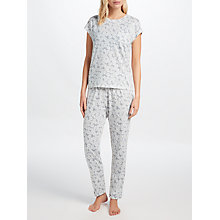 Buy John Lewis Daisy Print Jersey Pyjama Set, Grey/Ivory Online at johnlewis.com