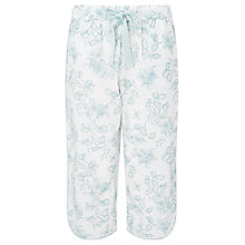 Buy John Lewis Floral Print Cropped Pyjama Bottoms, Aqua/White Online at johnlewis.com