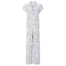Buy John Lewis Angela Floral Print Short Sleeve Pyjama Set, Blue/Pink Online at johnlewis.com