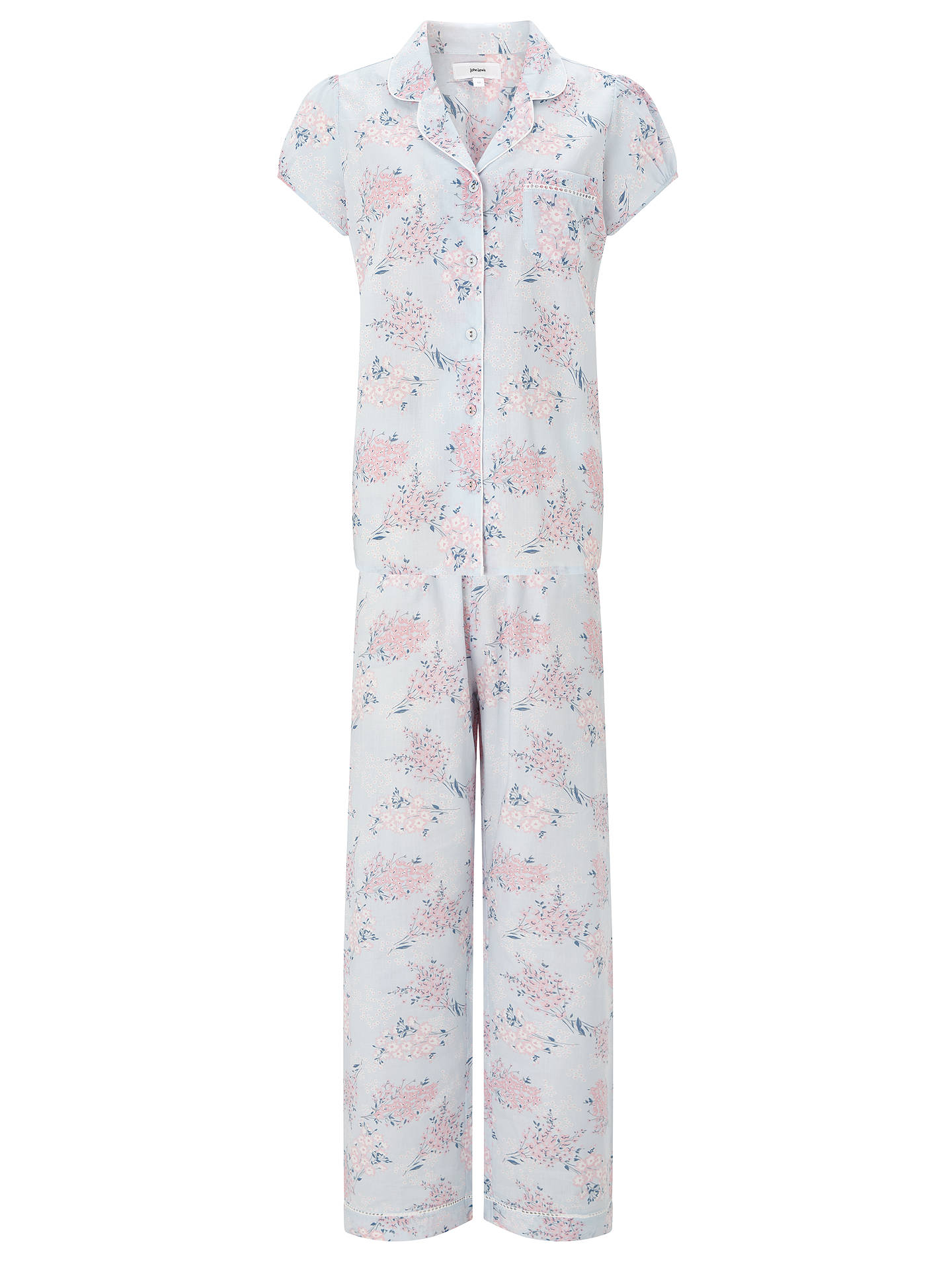 8c84e1b2 Buy John Lewis Angela Floral Print Short Sleeve Pyjama Set, Blue/Pink, 8