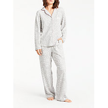 Buy DKNY Spot Print Fleece Pyjama Set, Grey/White Online at johnlewis.com