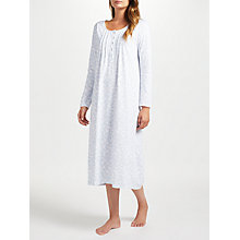 Buy John Lewis Frieda Print Long Sleeve Nightdress, White/Blue Online at johnlewis.com