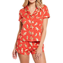Buy Chelsea Peers Gingerbread Man Shorts Pyjama Set, Red/Gold Online at johnlewis.com