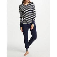 Buy John Lewis Edie Striped Top Jersey Pyjama Set, Navy/White Online at johnlewis.com