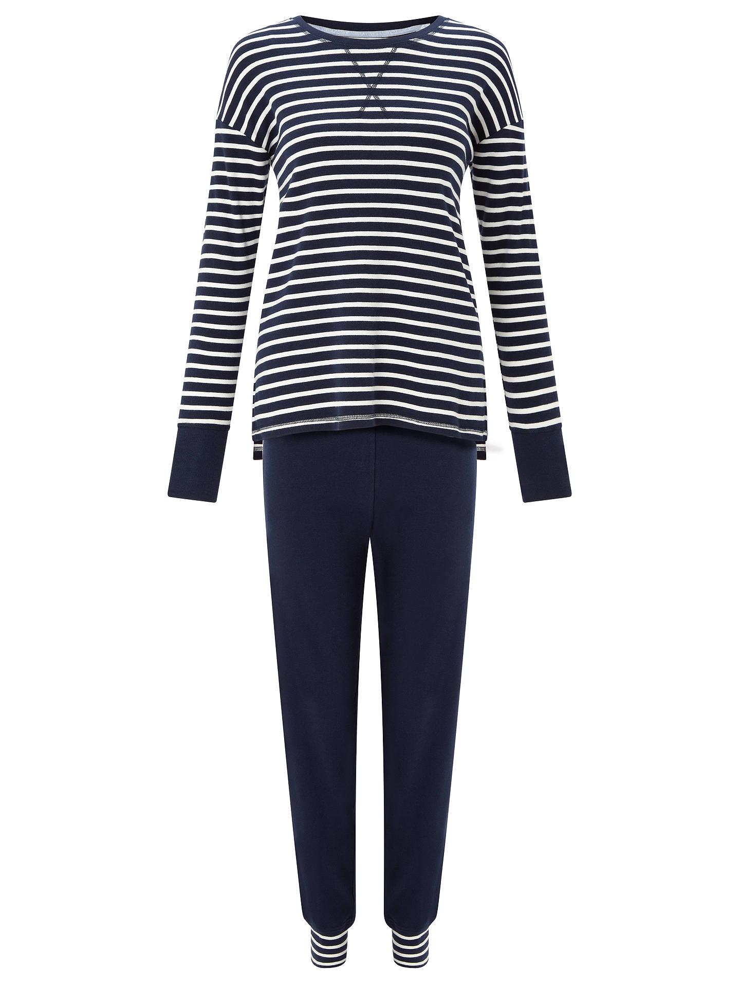 b01db00318 John Lewis & Partners Edie Striped Top Jersey Pyjama Set, Navy/White