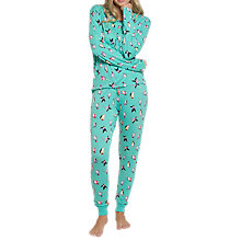 Buy Chelsea Peers Skiing Penguin Print Pyjama Set, Turquoise Online at johnlewis.com