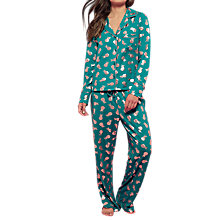 Buy Chelsea Peers Pineapple Print Revere Collar Pyjama Set, Teal/Gold Online at johnlewis.com