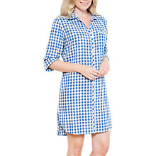 Buy Cyberjammies Lara Check Print Nightshirt, Blue/White Online at johnlewis.com